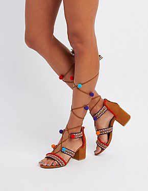 Bamboo Embroidered Pom Pom Sandals