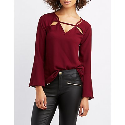 Bell Sleeve Cut-Out Blouse