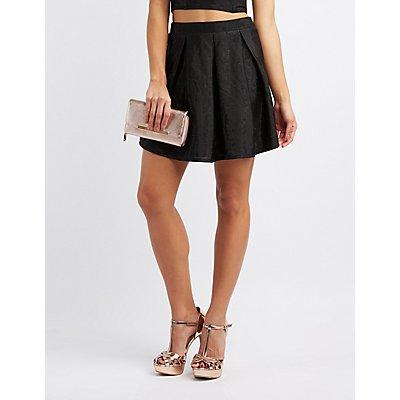 Shimmer Pleated Skater Skirt