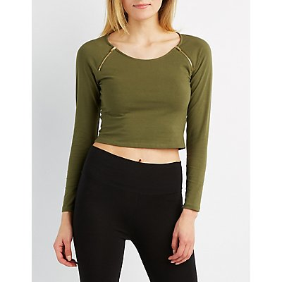 Zipper-Trim Crop Top