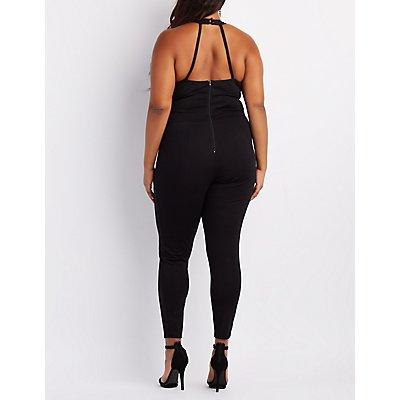 Plus Size Mock Neck Lace-Up Jumpsuit
