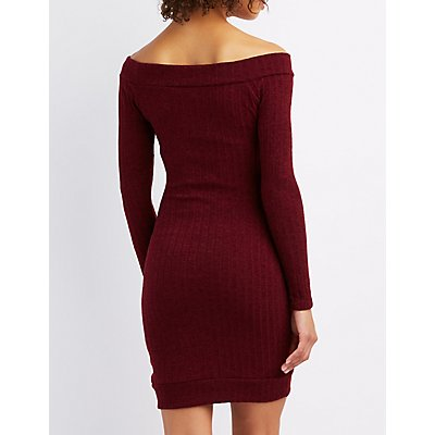Ribbed Off-The-Shoulder Envelope Hem Dress