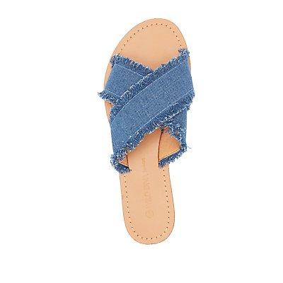Frayed Crisscross Slide Sandals