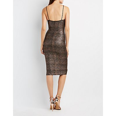 Foil Knit Lattice-Front Bodycon Dress