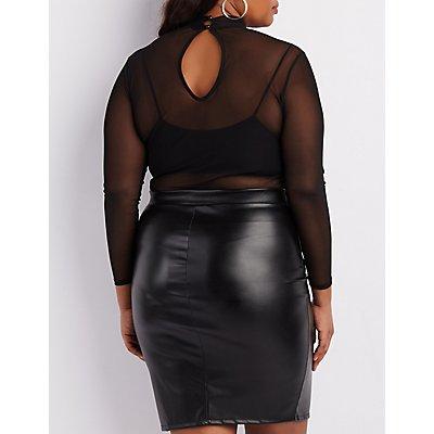 Plus Size Mesh Mock Neck Bodysuit