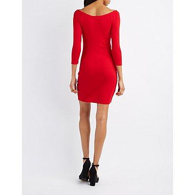 Wide Neck Bodycon Dress