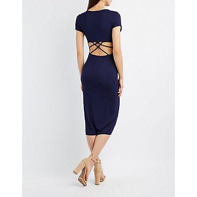 Strappy Caged-Back Midi Dress