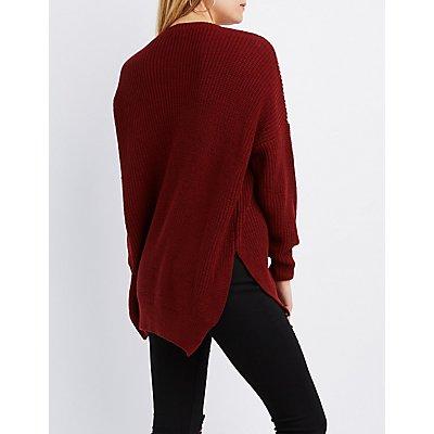 Shaker Stitch Pocket Sweater
