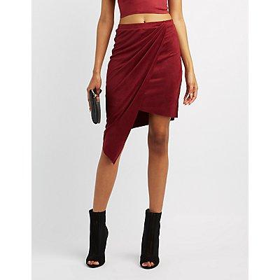 Faux Suede Asymmetrical Wrap Skirt
