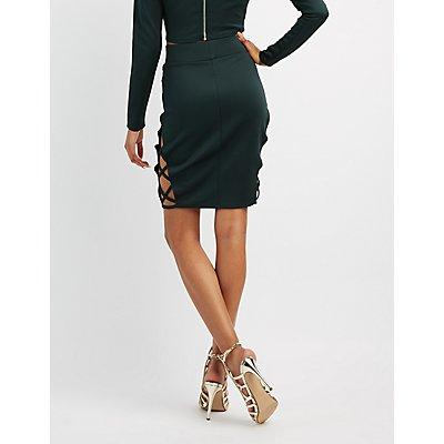 Scuba Lattice-Inset Pencil Skirt