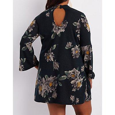 Plus Size Floral Choker Neck Shift Dress