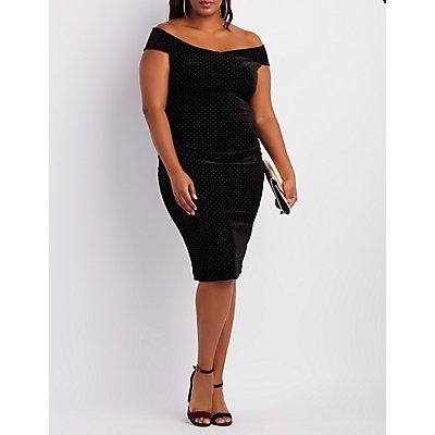 Plus Size Velvet Studded Off-The-Shoulder Dress