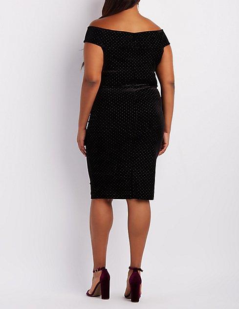 Plus Size Velvet Studded Off-The-Shoulder Dress   Charlotte Russe