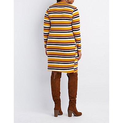 Plus Size Striped V-Neck Dress