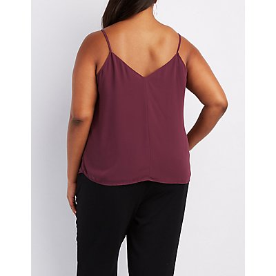 Plus Size Embellished Caged Tank Top