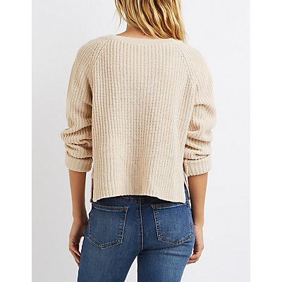 Lace-Up Cropped Sweater