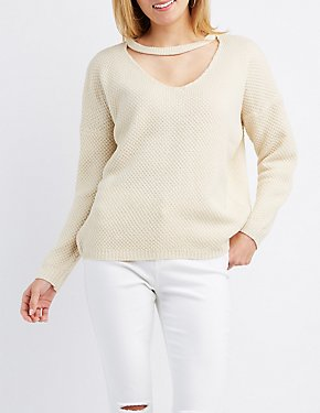 Cut-Out Pullover Sweater