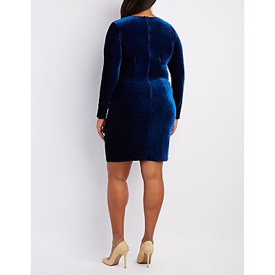Plus Size Velvet Lattice Bodycon Dress