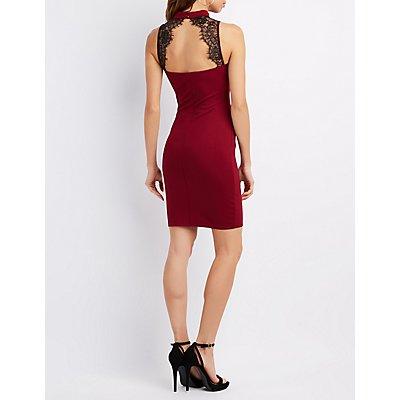 Mock Neck Lace-Trim Bodycon Dress