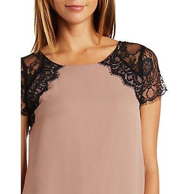 Lace & Chiffon Shift Dress