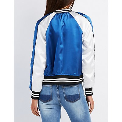 Satin Varsity Colorblock Bomber Jacket