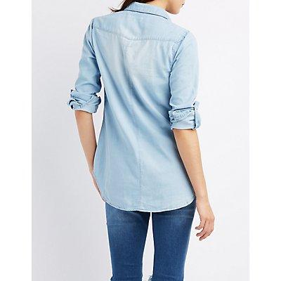 Acid Wash Chambray Button-Up Shirt
