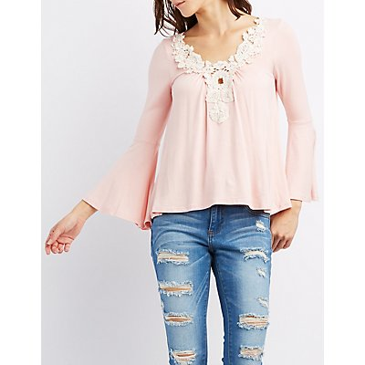 Crochet-Trim Bell Sleeve Top