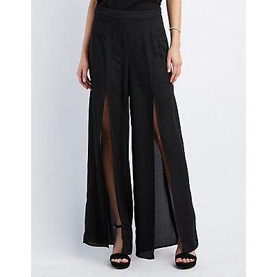Split Wide-Leg Trousers