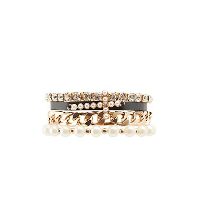 Chainlink, Pearl Bead & Rhinestone Layering Bracelets - 4 Pack