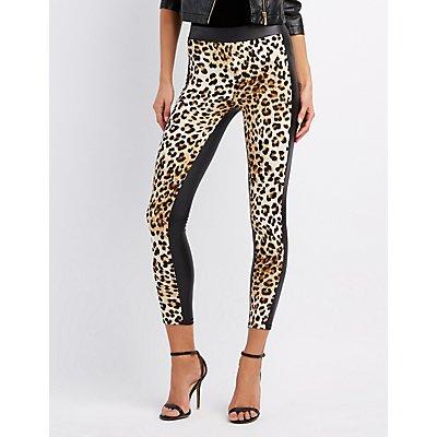 Faux Leather Leopard-Trim Leggings