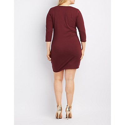 Plus Size Caged-Front Bodycon Dress