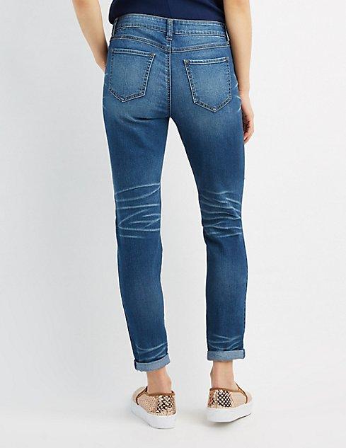 destroyed skinny boyfriend jeans charlotte russe. Black Bedroom Furniture Sets. Home Design Ideas