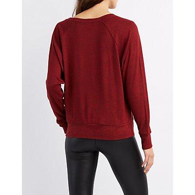 Marled Raglan Oversized Sweatshirt