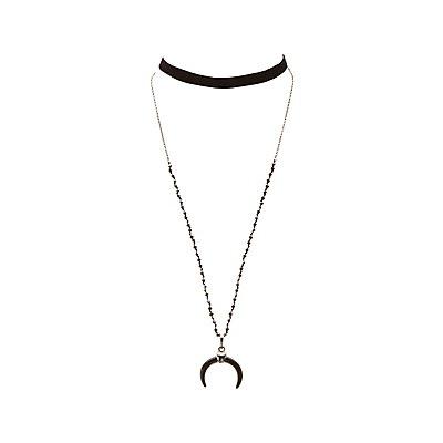 Velvet & Beaded Layered Necklace