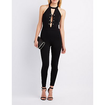 Mock Neck Lace-Up Jumpsuit