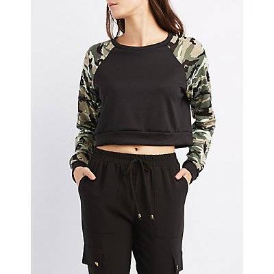 Camo Raglan Cropped Sweatshirt