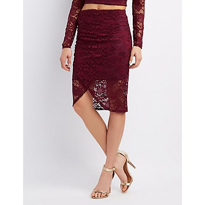 Lace Ruched Pencil Skirt