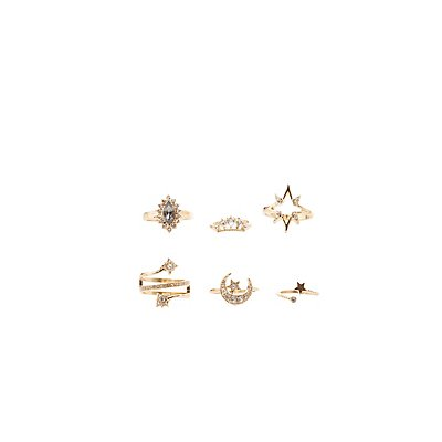 Embellished Star Stackable Rings - 6 Pack