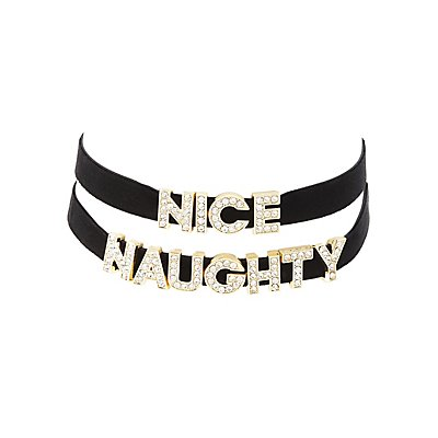 Naughty & Nice Choker Necklaces - 2 Pack