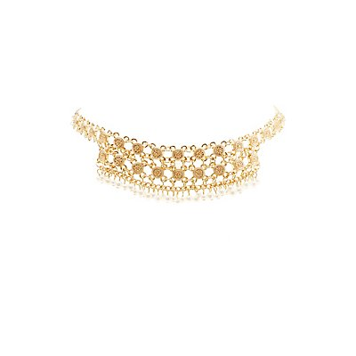 Pearl Bead & Chainlink Choker Necklace