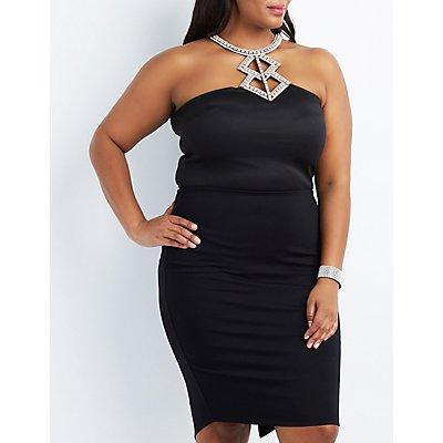 Plus Size Embellished Bib Neck Bodysuit