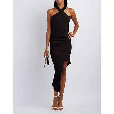 Crossover Ruched Asymmetrical Dress
