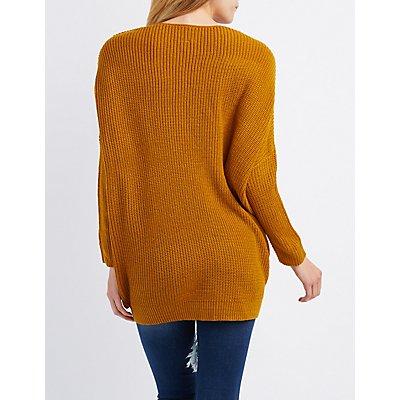 Pointelle V-Neck Sweater