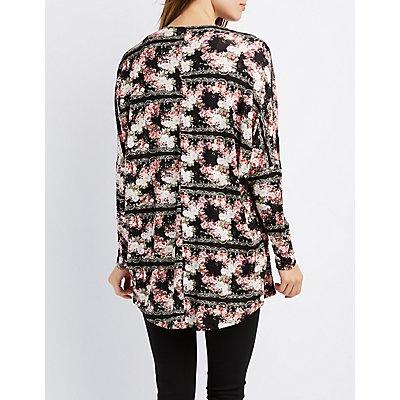 Floral Crochet-Trim Cardigan