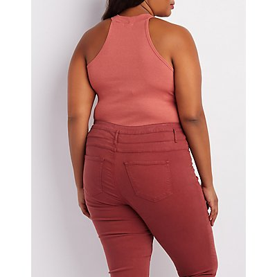 Plus Size Ribbed Mock Neck Tank Top