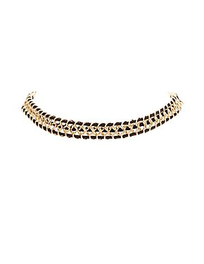 Plus Size Braided Chainlink Choker Necklace