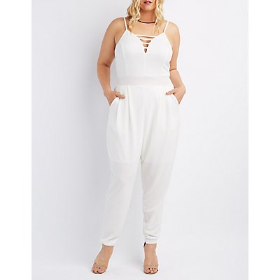 Plus Size Caged Sweetheart Jumpsuit