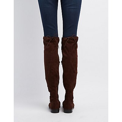Bamboo Drawstring Flat Over-The-Knee Boots