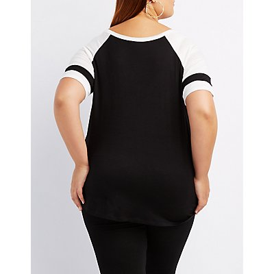 Plus Size Caged Football Tee