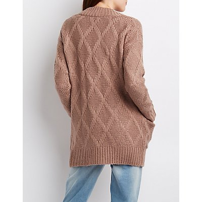 Argyle Knit Boyfriend Cardigan